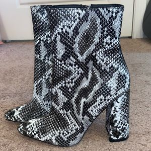 Pretty little thing snake skin booties